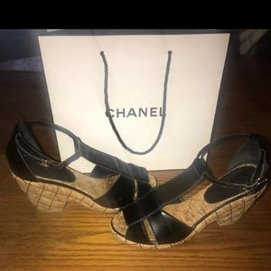Authentic CHANEL Quilted Cork Mary Jane Wedges